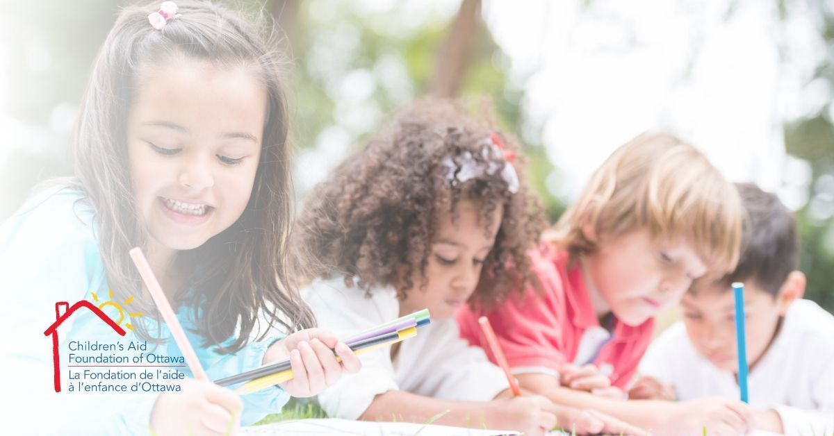 children writing, drawing, and colouring while learning